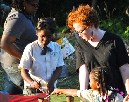 Addie with the Memorial Garden Program kids