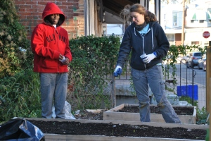 Damir, Sickels Street Repair the World's Philly Farm Crew leader Tali Smookler